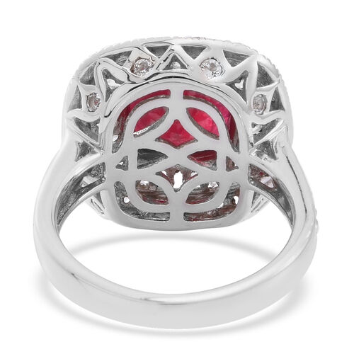 African Ruby (Cush 6.50 Ct), White Topaz Ring in Rhodium Plated Sterling Silver 10.000 Ct.