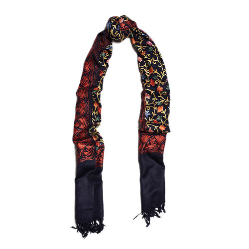 100% Merino Wool Navy Blue, Orange and Multi Colour Flower and Leaves Embroidered Scarf (Size 190x70 Cm)