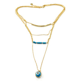 Blue Howlite and Murano Glass Necklace (Size 18 with Extender) in ION Plated Gold with Stainless Steel
