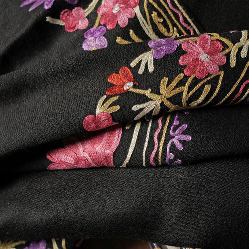 100% Merino Wool Black, Purple and Multi Colour Flower and Leaves Embroidered Scarf (Size 190x70 Cm)