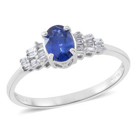 ILIANA 18K W Gold AAA Ceylon Sapphire (Ovl 1.00 Ct), Diamond (SI/G-H) Ring 1.150 Ct.