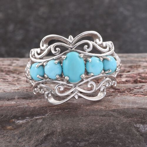 Arizona Sleeping Beauty Turquoise (Ovl) Ring in Platinum Overlay Sterling Silver 1.750 Ct.