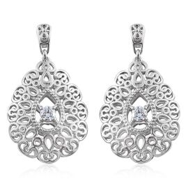 Designer Inspired J Francis - Platinum Overlay Sterling Silver (Rnd) Earrings (with Push Back) Made with SWAROVSKI ZIRCONIA