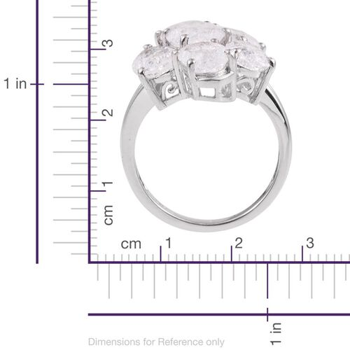 Diamond Crackled Quartz (Ovl 1.75 Ct) Ring in Platinum Overlay Sterling Silver 7.500 Ct.