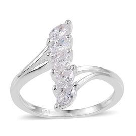 J Francis - Sterling Silver (Mrq) 5 Stone Crossover Ring Made with SWAROVSKI ZIRCONIA