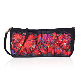 Shanghai Collection Royal Red Dragon Embroidered Crossbody Bag with Removable Shoulder Strap (Size 27X13X10 Cm)