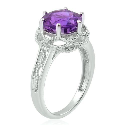 Amethyst (Rnd) Solitaire Ring in Platinum Overlay Sterling Silver 2.750 Ct.