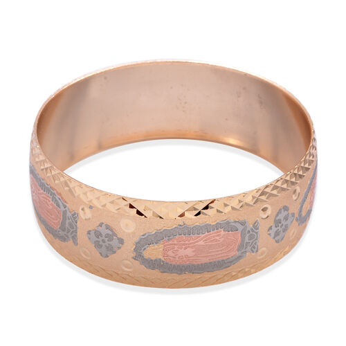 Close Out Deal Rose, Silver and Gold Plated Brass Bangle (Size 7)
