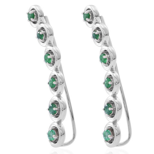 Kagem Zambian Emerald (Rnd) Earrings in Rhodium Plated Sterling Silver 1.250 Ct.