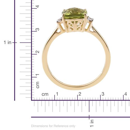9K Yellow Gold 2.50 Carat AA Hebei Peridot Cushion Ring with Natural Cambodian Zircon