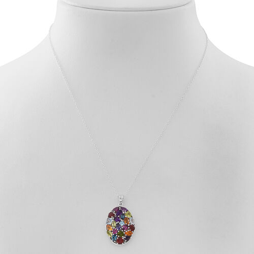 CockTail Collection-Mozambique Garnet (Cush), Sky Blue Topaz, Hebei Peridot and Multi Gemstone Pendant with Chain in Rhodium Plated Sterling Silver 6.050 Ct. Silver wt 5.40 Gms.