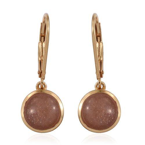 Morogoro Peach Sun Stone (Rnd) Lever Back Earrings in 14K Gold Overlay Sterling Silver 4.250 Ct.