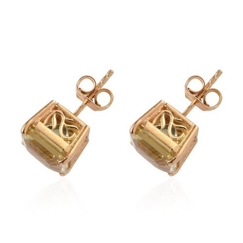 Ascher Cut Brazilian Green Gold Quartz (Oct) Stud Earrings (with Push Back) in 14K Gold Overlay Sterling Silver 6.750 Ct.