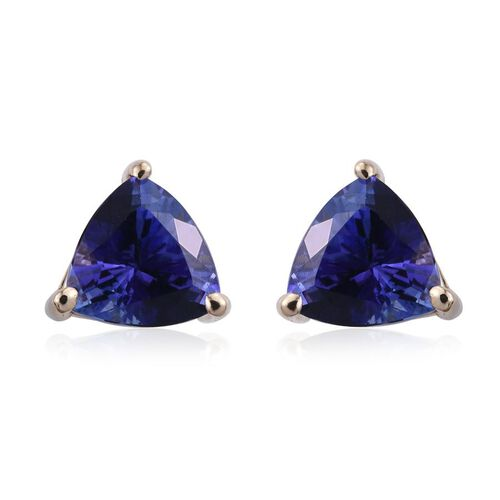 14K Y Gold Tanzanite (Trl) Stud Earrings (with Push Back) 2.000 Ct.