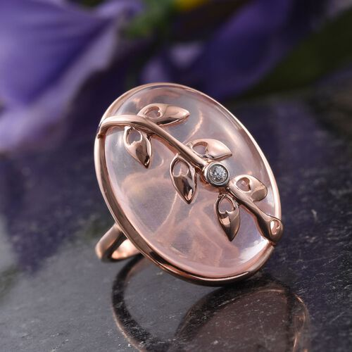 KIMBERLEY Rose Quartz (Ovl), Natural Cambodian Zircon Ring in Rose Gold Overlay Sterling Silver 35.050 Ct. Silver wt 5.00 Gms.