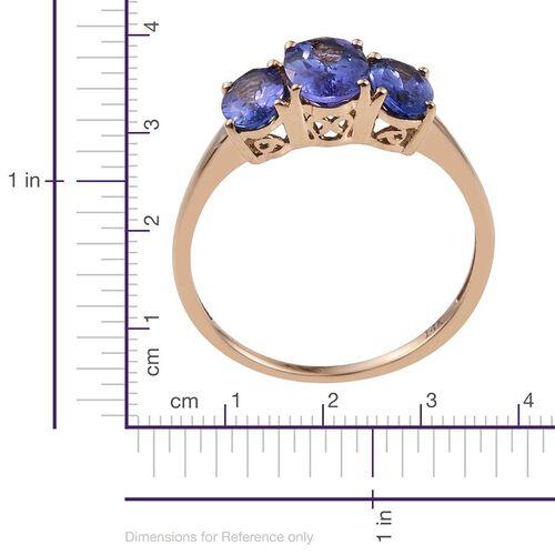 14K Y Gold Tanzanite (Ovl 1.00 Ct) 3 Stone Ring 2.150 Ct.
