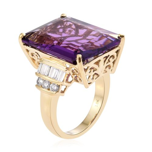 ILIANA 18K Yellow Gold AAA Zambian Amethyst (Oct 21.50 Ct), Diamond (SI/G-H) Ring 22.400 Ct.