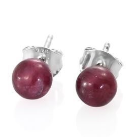 AAA African Ruby Ball Stud Earrings (with Push Back) in Platinum Overlay Sterling Silver 4.750 Ct.