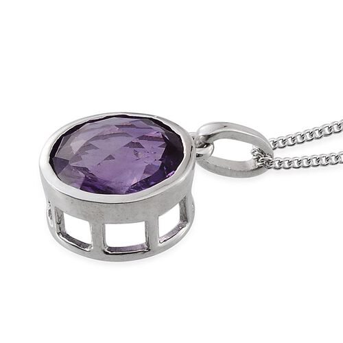 Amethyst (Rnd) Solitaire Pendant With Chain in Platinum Overlay Sterling Silver 3.500 Ct.