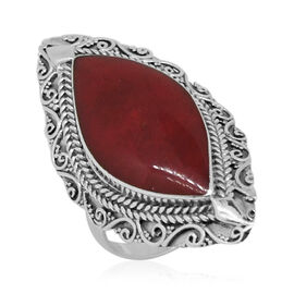 Royal Bali Collection Sponge Coral (Mrq) Solitaire Ring in Sterling Silver 7.000 Ct.
