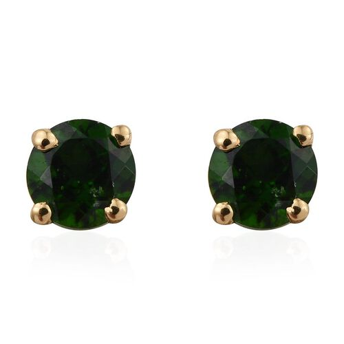 AAA Russian Diopside (Rnd) Stud Earrings (with Push Back) in 14K Gold Overlay Sterling Silver 1.000 Ct.