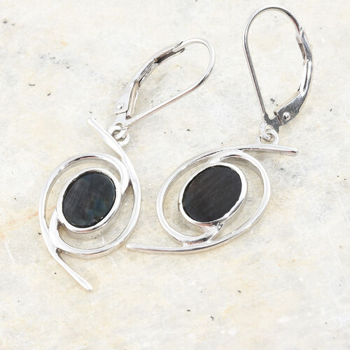 Natural Spectrolite (Ovl) Lever Back Earrings in Platinum Overlay Sterling Silver 2.000 Ct.