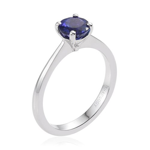 RHAPSODY 950 Platinum 1 Carat AAAA Tanzanite Round Solitaire Ring.