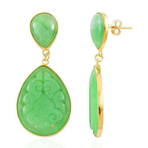 Green Jade Drop Earrings (with Push Back) in Yellow Gold Overlay Sterling Silver 32.800 Ct.