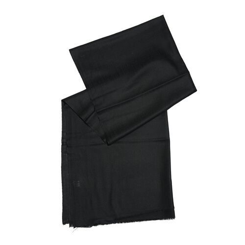 100% Fine Cashmere Wool - Hand Loomed Black Shawl (Size 200 x 70 Cm)