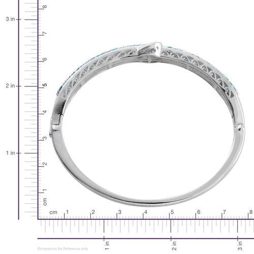 Malgache Neon Apatite (Rnd), Diamond Buckle Bangle (Size 7.5) in Platinum Overlay Sterling Silver 3.510 Ct.