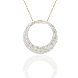 9K Yellow Gold SGL Certified Diamond (Bgt) (I3/G-H) Crescent Moon Pendant With Chain 1.000 Ct.