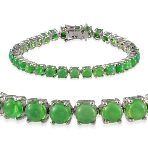 Green Ethiopian Opal (Rnd) Bracelet (Size 7.5) in Platinum Overlay Sterling Silver 12.500 Ct.
