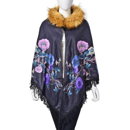 Designer Inspired Black Floral Pattern Faux Fur Collar Reversible Poncho with Tassels (Free Size)