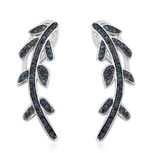 Blue Diamond (Rnd) Earrings (with Push Back) in Platinum Overlay Sterling Silver 0.669 Ct.