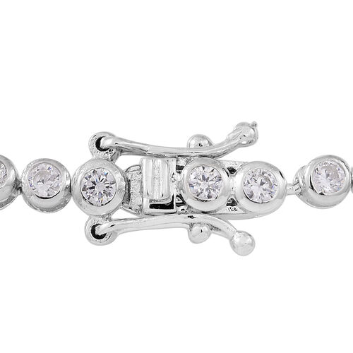 ELANZA AAA Diamond Cut Simulated White Diamond (Rnd) Tennis Bracelet (Size 7.5) in Rhodium Plated Sterling Silver. wt 6.5 grams