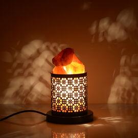 Home Decor - Natural Himalayan Rock Salt Basket Lamp (with 1.6kg Salt) - Damask Pattern