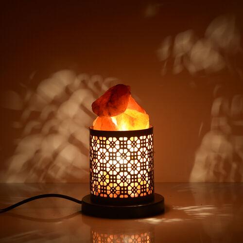 Home Decor - Black Colour Lamp with Rock Salt Lamp