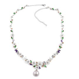 Jardin Collection- South Sea White Pearl (Rnd 13-14mm),Hand Carved White Mother of Pearl, and Multi Gemstone Necklace (Size 17 with 3 inch Extender) in Rhodium Plated Sterling Silver 35.700 Ct.