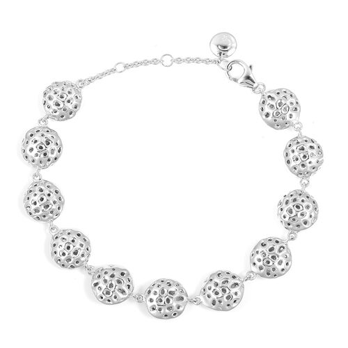 RACHEL GALLEY Rhodium Plated Sterling Silver Lattice Disc Bracelet (Size 8), Silver wt. 16.31 Gms.