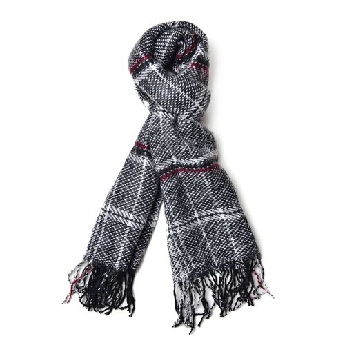 Designer Inspired-Black, White and Multi Colour Checks Pattern Scarf with Tassels (Size 180X60 Cm)