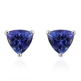 14K White Gold Tanzanite (Trl) Stud Earrings (with Push Back) 2.250 Ct.