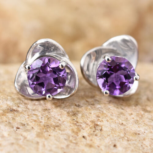 Amethyst 1.50 Ct Sterling Silver Stud Earrings (with Push Back) in Platinum Overlay