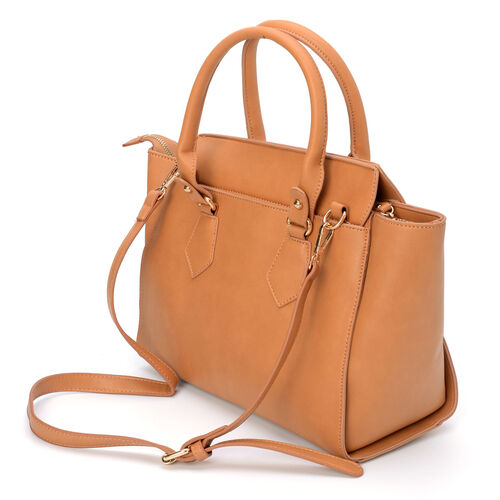 Light Tan Perfect Pocket Tote Bag With Adjustable and Removable Strap (Size 38x23.5x10 Cm)