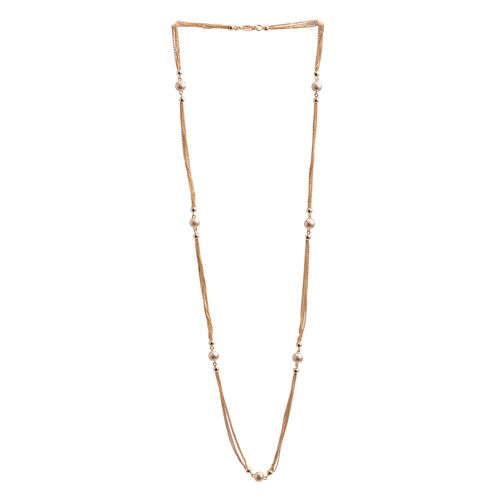 Close Out Deal 14K Gold Overlay Sterling Silver Station Necklace (Size 24), Silver wt 9.50 Gms.