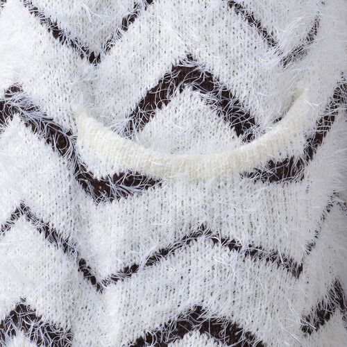 Italian Designer Inspired-Chocolate and White Colour Chevron Pattern Apparel with Pockets (Size 82X50 Cm)