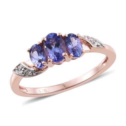 Tanzanite, Natural Cambodian Zircon 0.93 Ct Silver Ring in Rose Gold Overlay