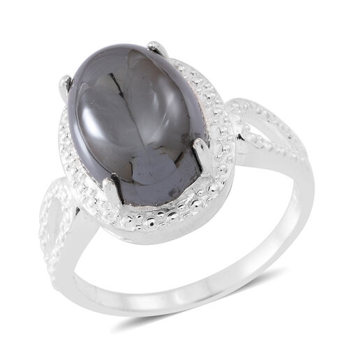 Natural Hematite (Ovl) Ring in Sterling Silver 11.000 Ct.