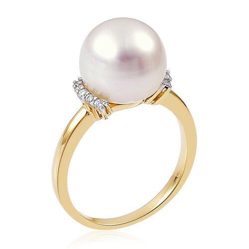 ILIANA 18K Yellow Gold AAAA South Sea White Pearl (Rnd 10-10.5mm) Ring with Diamond (SI/G-H)