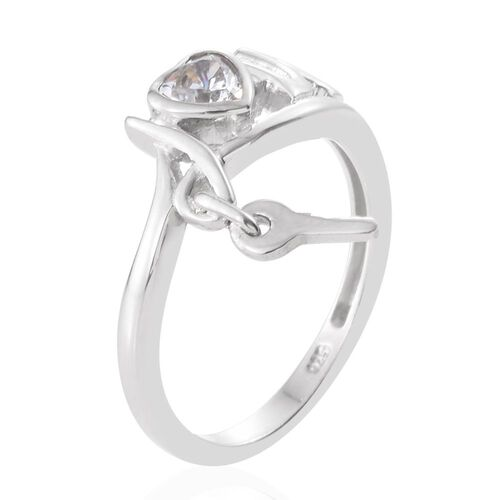 J Francis - Platinum Overlay Sterling Silver (Hrt) Love Ring Made with SWAROVSKI ZIRCONIA