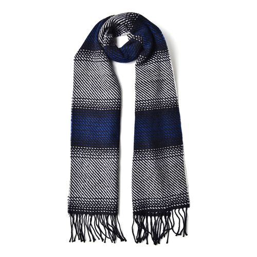 100% Wool Navy, Black and Grey Colour Stripes Pattern Scarf with Tassels (Size 180x30 Cm)